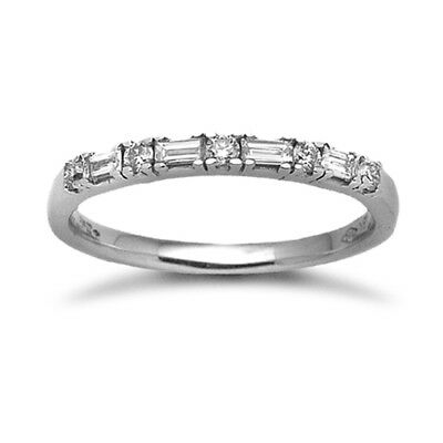 Ladies Solid 18ct White Gold 4 Claw Round 46pts Diamond Horizontal Eternity Ring