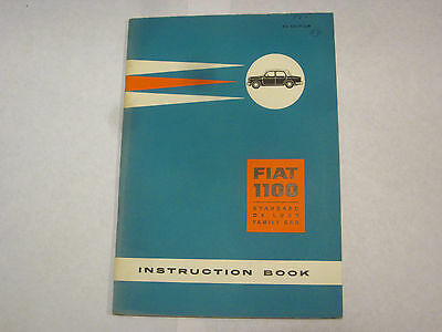 1960 Fiat 1100 Standard De Luxe Family Car Instruction Book Owners Manuel Car