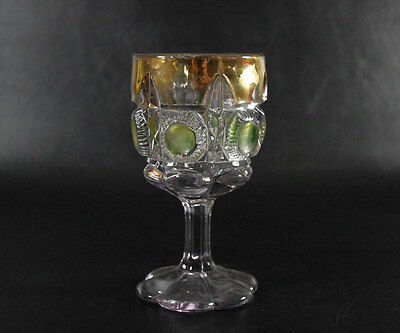 US Glass Bulls Eye and Daisy Goblet Green Stain Gold Trim, Antique EAPG, Newport