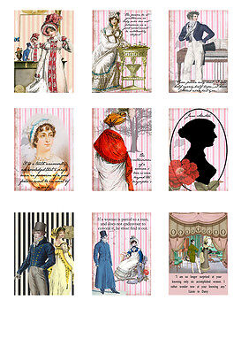 Fabric Panels Jane Austen Regency Style  Set of 9 ATC Fabric Blocks