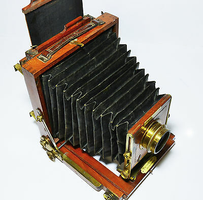 Victorian folding half plate camera by J Lancaster & Sons of Birmingham, 1900