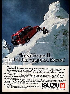 "Lot of 3 Isuzu 1988 Trooper II Print Ads ""The 4X4 that conquered Everest"""