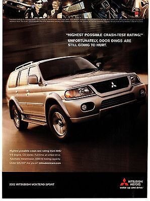 """Mitsubishi 2002 Montero Sport Print Ad """"Door Dings Are Still Going to Hurt"""""""