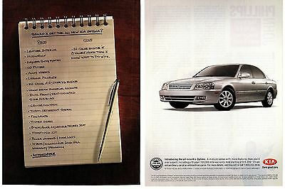 """2002 Silver Kia Optima 2-Page Print Ad """"More Features Than You'd Ever Expect"""""""