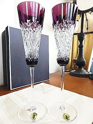 Waterford Crystal ALANA PRESTIGE Toasting Champagne Flutes Set / 2 VIOLET - NEW!
