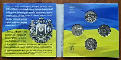 2016 Ukraine Set of 4 Coins 5 UAH 25 years of independence in Souvenir Pack UNC
