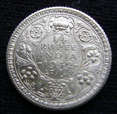 British India 1/4 Rupee, 1942 C Uncirculated Silver