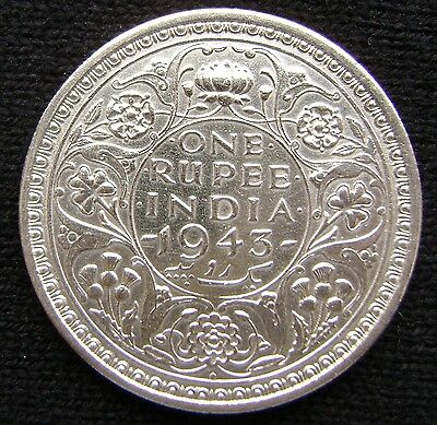 British India One Rupee, 1943 B Uncirculated Silver