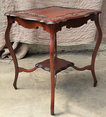American Victorian Solid Mahogany Shell Carved Top Lamp / Side /  Table c1890s