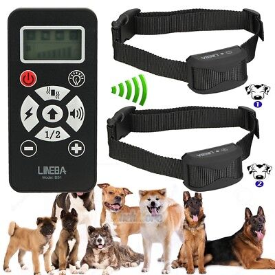 800Yard Waterproof Rechargeable LCD Shock Vibra Remote Pet Dog 2 Training Collar