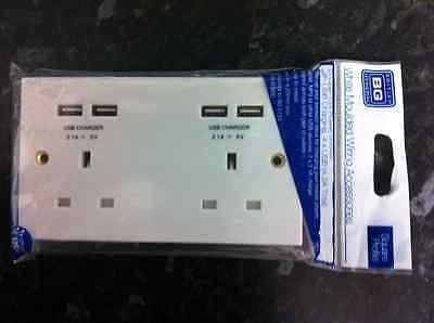 Bg British General 13A 2 Gang Power Double Socket With 4 X Usb Chargers White
