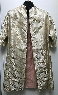 Vintage Japanese silk house coat 1960's cream gold