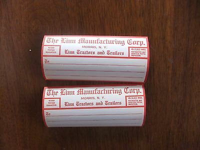 2  Vintage LINN TRACTOR Linn Manufacturing Corp. Morris NY Shipping Labels