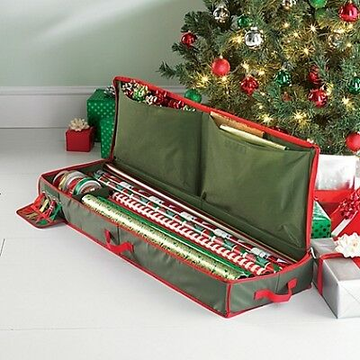 Red Green Christmas Gift Wrap Wrapping Paper Organizer Holiday Storage Holder