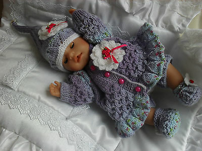 "Hand Knitted Matinee Set For A 16""-18"" Reborn Fantasy Doll Suit Pixie/Fairy/Elf*"