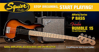 Squier Affinity Series Precision Bass with Rumble 15 Amp Starter Pack