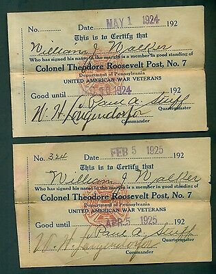 1924/1925 United American War Veterans Colonel Theodore Roosevelt Post #7 Cards