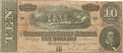 1864 $10 Confederate Civil War Paper Money Currency - Field Artillery In Action