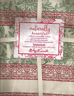 """April Cornell Batik Floral Holiday Christmas Tablecloth:70"""" Round, 120"""" Rect"""