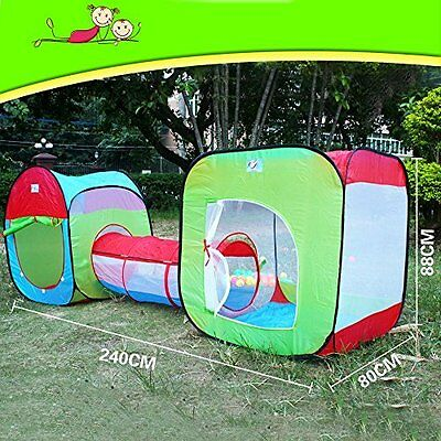 3 in 1 Childrens Playground. Play Tent House and Tube Kids Fun Indoor Outdoor