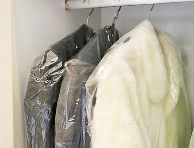 """LOT of 15 DRY CLEANER POLY GARMENT BAGS. 21"""" x 4"""" x  54"""" garment bags"""