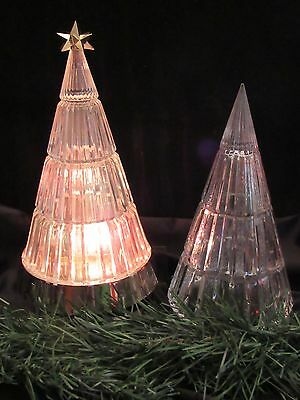 2 Crystal Blinking Light Holiday Clear Glass Christmas Trees 1990 Avon