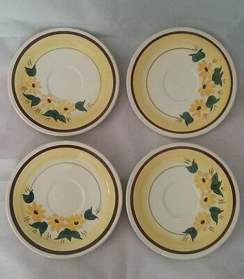 Glaze Hand Painted Brown Eyed Susan Vernon Ware Under 4 Bread & Butter Dishes