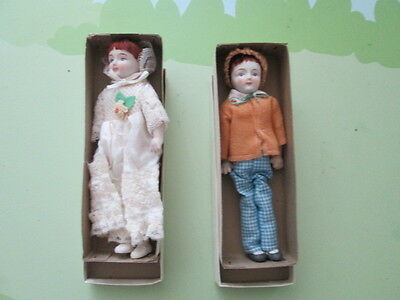 2 SHACKMAN ANTIQUE BISQUE DOLLS Brother & Crinoline Lace Doll Handmade Japan
