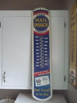 """Vintage Chew Mail Pouch Tobacco Thermometer Metal Sign 38 1/2"""" ADVERTISING SIGN"""