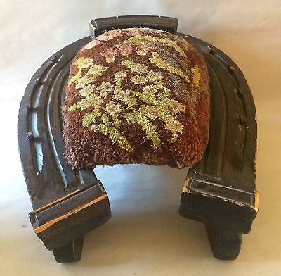 Antique Gout Relief Stool Ottoman Footrest Upholstered Horseshoe Shaped