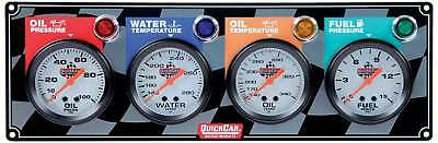 QUICKCAR RACING PRODUCTS White Face Gauge Panel Assembly P/N 61-6021