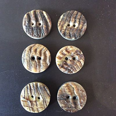 6 X Genuine Rams Horn Buttons 1