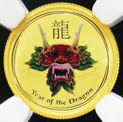 2012 P Gold Australia $5 Lunar Year Of The Dragon Colorized Ngc Mint State 69