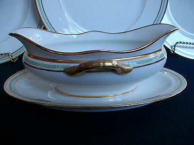 CHARLES MARTIN LIMOGES-GREEN GREEK KEY (c1891+) GRAVY BOAT/ATTACHED PLATE-GREAT!