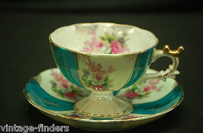 Old Lusterware China Footed Cup & Saucer Set Teal w Pink Roses & Gold Trim Japan