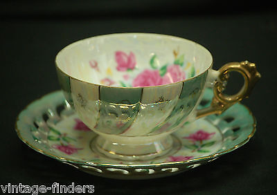 Old Vintage Lusterware Footed Cup & Saucer Set w Gold Trim C-131 by Napco