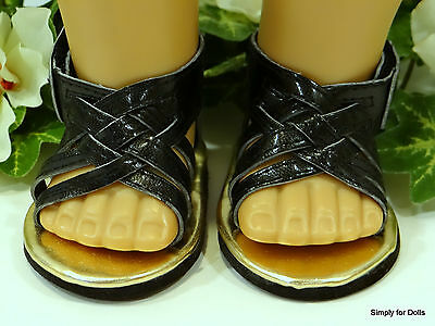 """BLACK Braided DOLL SANDALS SHOES fits 18"""" AMERICAN GIRL Doll Clothes"""