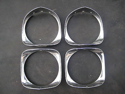 66 Cadillac Deville Eldorado Fleetwood Headlight Surround Chrome Bezel Set