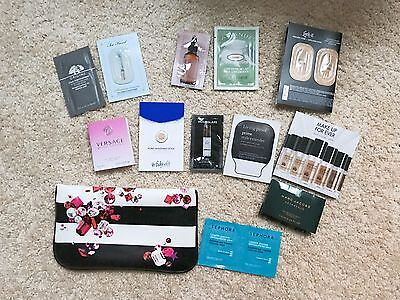 NIB Sephora Sample Bag with samples in stripped Black and White Pouch