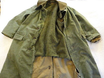 1950s Vintage (Dutch) Amsterdam Holland Military Winter Field Lined Overcoat (M)