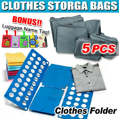5pcs Travel Luggage Clothes Storage Bags+ID TAG + Clothes T-Shirt Top Folder AU
