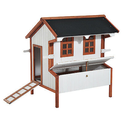 "Pawhut 50"" Elevated Chicken Coop House Poultry Wooden Barn W/ Run Outdoor Beige"