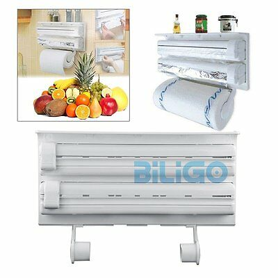3in1 Wall Mounted Kitchen Triple Paper Dispenser Cling Film Foil Roll Holder【AU】