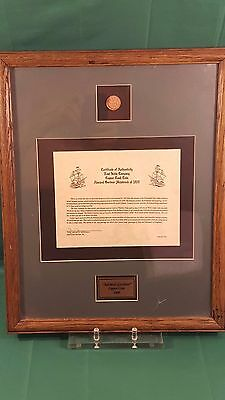 1808 Admiral Gardner Shipwreck Treasure Copper Coin Framed with COA