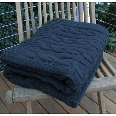 Cable Knitted Throw Rug Blanket Black Warm Luxurious Cotton 150x180cm