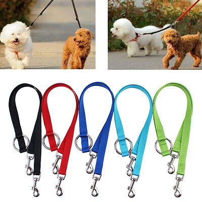 Duplex Dog Coupler Twin Double Lead 2 Way Two Dogs Pet Walking Safety Leash New