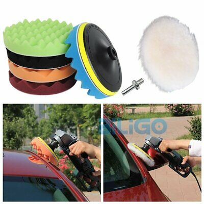 "7Pcs 180mm/7""Polishing Sponge Waxing Foam Buffing Pads Fr Car Auto Polishers【AU】"