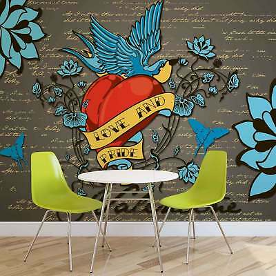 WALL MURAL PHOTO WALLPAPER XXL Old School Valentine Tattoo  (890WS)