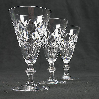 3 x Genuine Lead Crystal Wine Glasses GREAT CONDITION