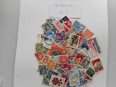 100 used postage stamps from NORWAY PK 1 no doubles